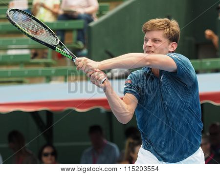 David Goffin Of Belgium backhand follow through