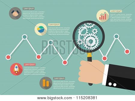 Hand Holding Magnifying Glass With Stock Market Graph Infographic