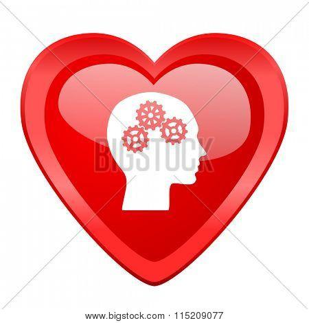 head red heart valentine glossy web icon