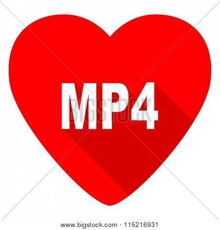 mp4 red heart valentine flat icon