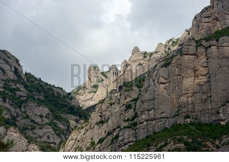 View Of Montserrat Abbey And Mountains, Barcelona, Catalonia, Spain.