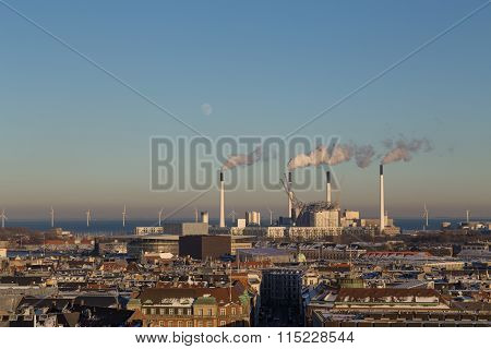 Copenhagen Skyline View with Amager Power Plant