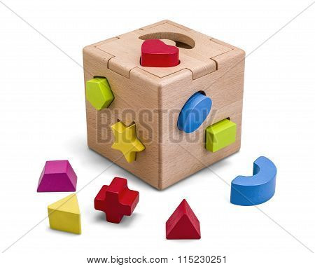 Wooden Puzzle Box Toy With Colorful Blocs Isolated On White With Clipping Path