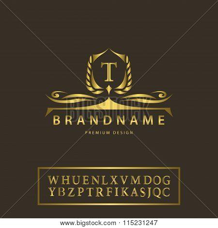 Luxury Vintage Logo. Business Sign, Label, Letter Emblem T For Badge, Crest, Restaurant, Royalty, Bo