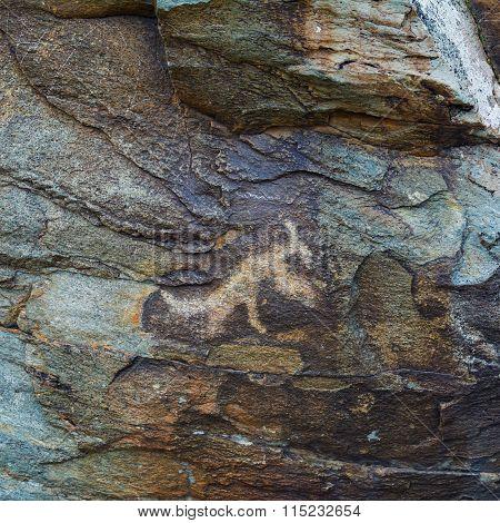 Prehistorical Petroglyphs Carved In Stones