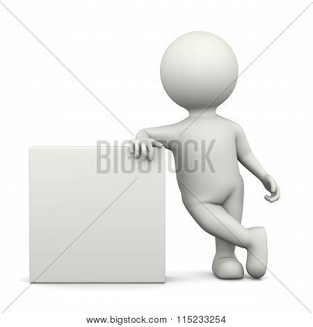 White 3D Character Leaned On A Squared Bill