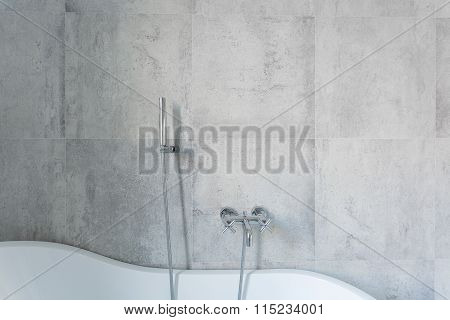 Concrete Wall In The Bathroom