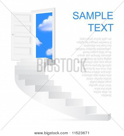 Stairs To Sky With Space For Text.