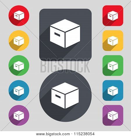 Packaging Cardboard Box Icon Sign. A Set Of 12 Colored Buttons And A Long Shadow. Flat Design.