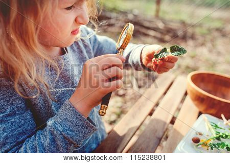 child girl exploring nature in early spring looking at first sprouts with loupe. Teaching kids to lo