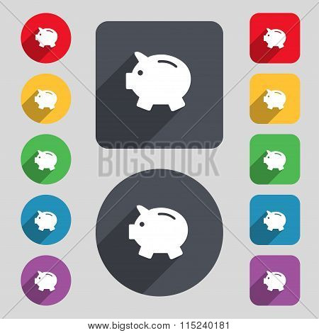 Piggy Bank - Saving Money Icon Sign. A Set Of 12 Colored Buttons And A Long Shadow. Flat Design.