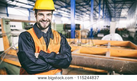 Smilig Worker With Protective Uniform In Production Hall