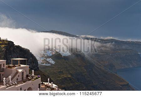 White Cloud Over Santorini In Spring