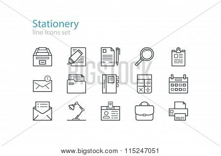 Office stationery  icons. Black. Line art. Stock vector.