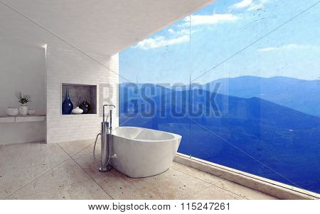 Luxury modern bathroom interior with a free standing tub overlooking a spectacular view of mountain ranges through a glass wall. 3d Rendering.