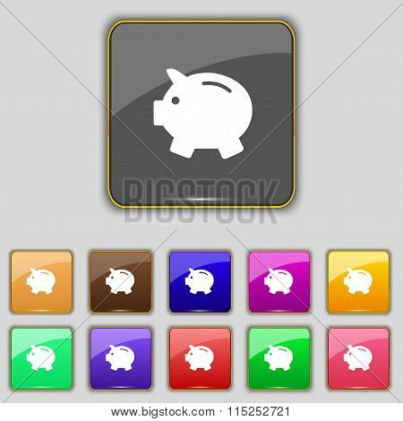Piggy Bank - Saving Money Icon Sign. Set With Eleven Colored Buttons For Your Site.