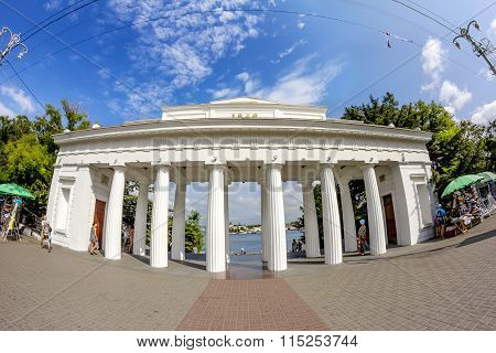 Colonnade Count Landing Stage In The Port Of Sevastopol. Crimea. Ukraine.
