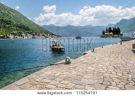 The Boat Pier On Church Island Gospa Od Shkrpela In Kotor Bay.montenegro.