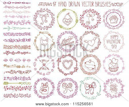 Love heart doodle brushes.Valentine,wedding wreath.Color
