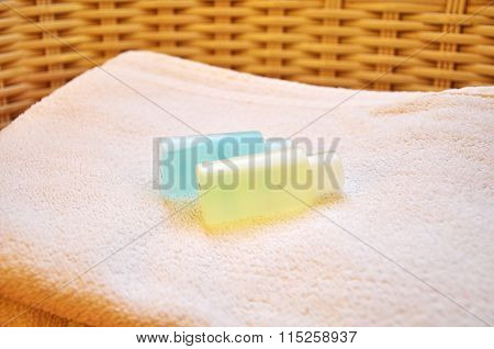Hotel Toilet Amenities On The Towel