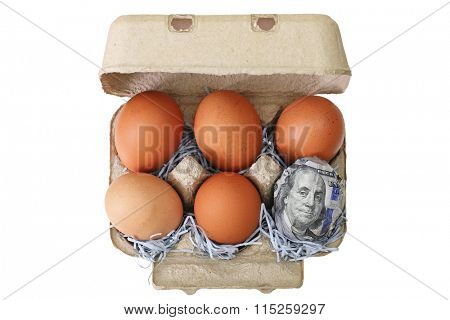 A beige paper pulp egg tray package made of recycled paper full of fresh chicken eggs with one wrapped in 100 US dollar banknotes