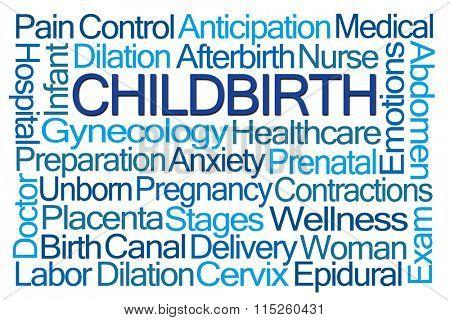 Childbirth Word Cloud on White Background