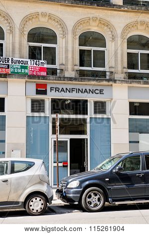 Franfinance Bank Facade In Paris, France