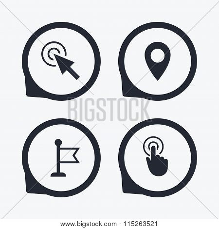 Mouse cursor icon. Hand or Flag pointer symbols.