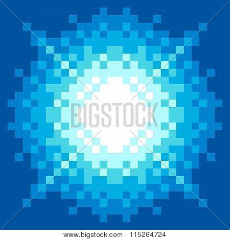 8-bit Pixel-art Blue Explosion