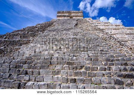 Detail View Of Mayan Pyramid El Castillo In Chichen Itza