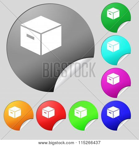 Packaging Cardboard Box Icon Sign. Set Of Eight Multi Colored Round Buttons, Stickers.