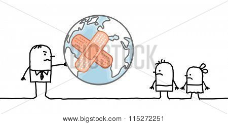 cartoon man giving a sick planet to his children