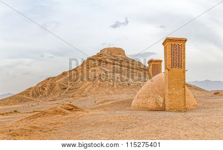 Disused old building at the foot of the Tower of Silence in Yazd, Iran. poster
