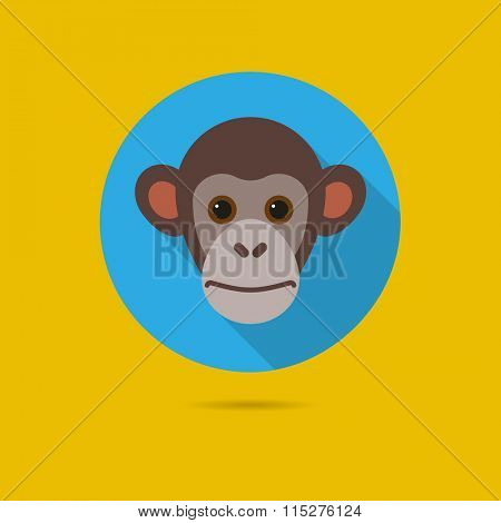 Flat design icon of cute chimp monkey face