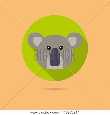 Flat design icon of cute koala bear face