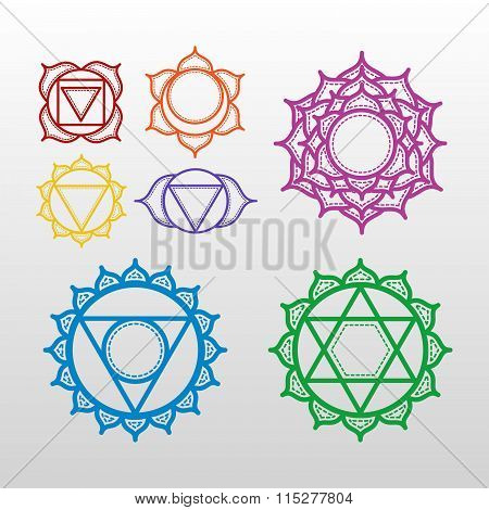 Isolated Set Of Beautiful Indian Ornamental 7 Chakras. Vector Illustration. Color Yoga Chakra Icons