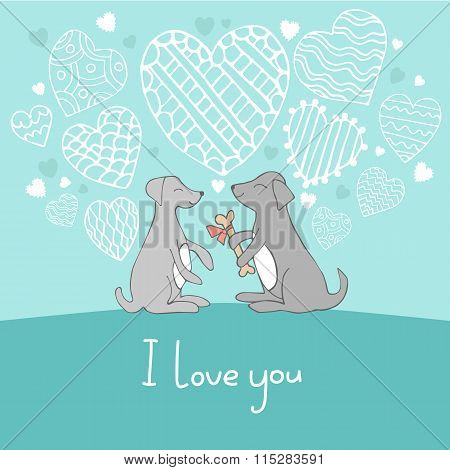Dogs in love cute doodle vector illustration