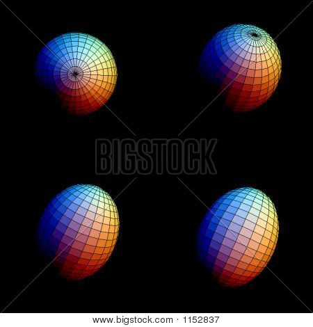 Wireframe Colored Ellipsoids