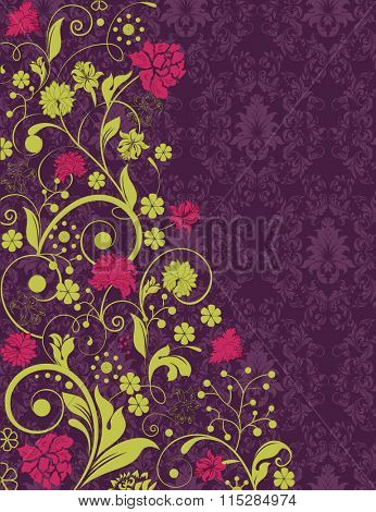 Vintage invitation card with ornate elegant retro abstract floral design, red and yellow green flowers and leaves on dark purple background. Vector illustration.