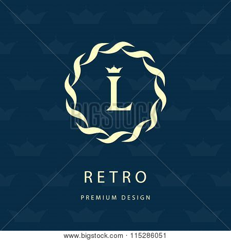 Monogram Design Elements, Graceful Template. Elegant Line Art Logo Design. Letter Emblem L. Retro Vi