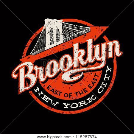 Brooklyn New York City retro vintage typography t-shirt,  poster, printing design. Brooklyn Bridge