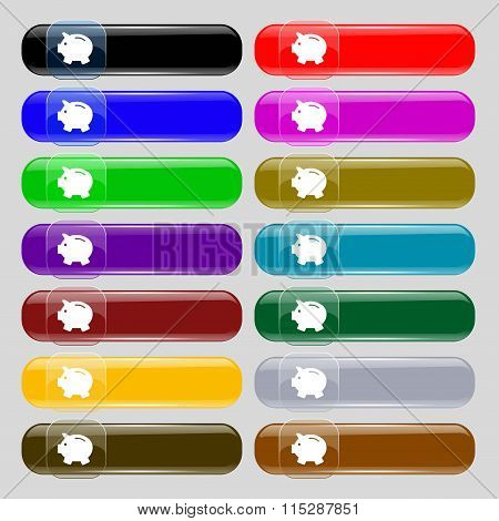 Piggy Bank - Saving Money Icon Sign. Set From Fourteen Multi-colored Glass Buttons With Place For