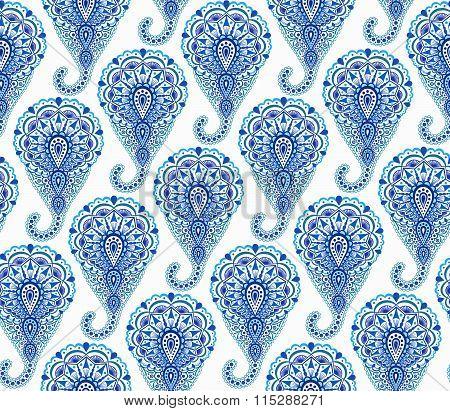 Intricate Indigo Paisley Pattern