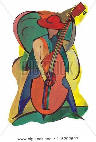 Female performer playing music with double bass