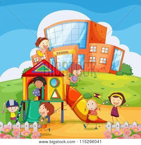 Children playing in the school playground illustration