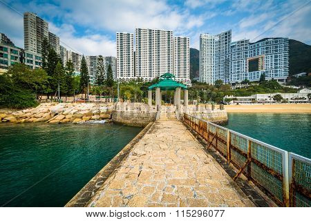 Pier And Skyscrapers At Repulse Bay, In Hong Kong, Hong Kong.