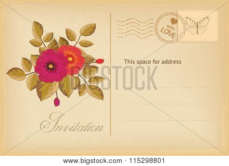 Vintage Postcard Invitation