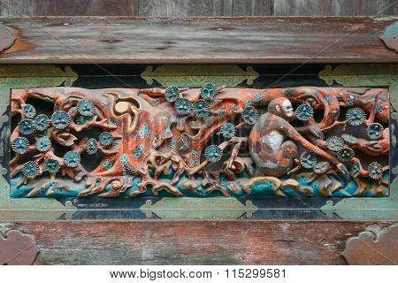 NIKKO JAPAN - NOVEMBER 17 2015: Wood carving at A storehouse at NIkko Toshogu Shrine