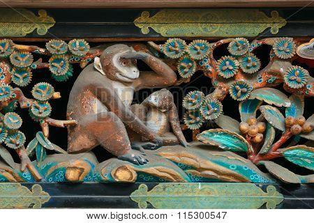 NIKKO JAPAN - NOVEMBER 17 2015: Wood carving at A storehouse at NIkko Toshogu Shrine
