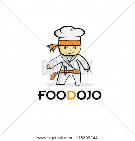 Cartoon Karate Food Chef Vector Illustration Design Template